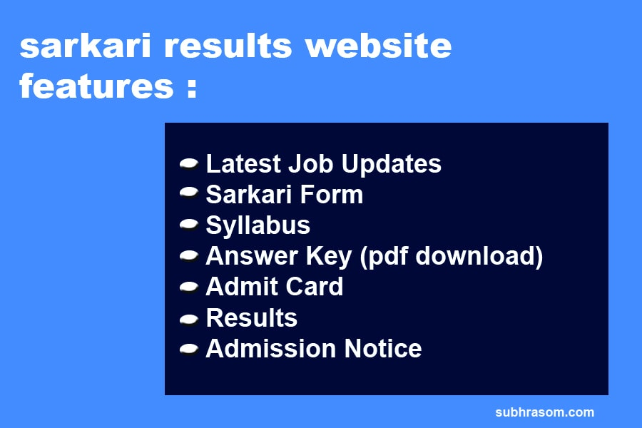 sarkari results website features