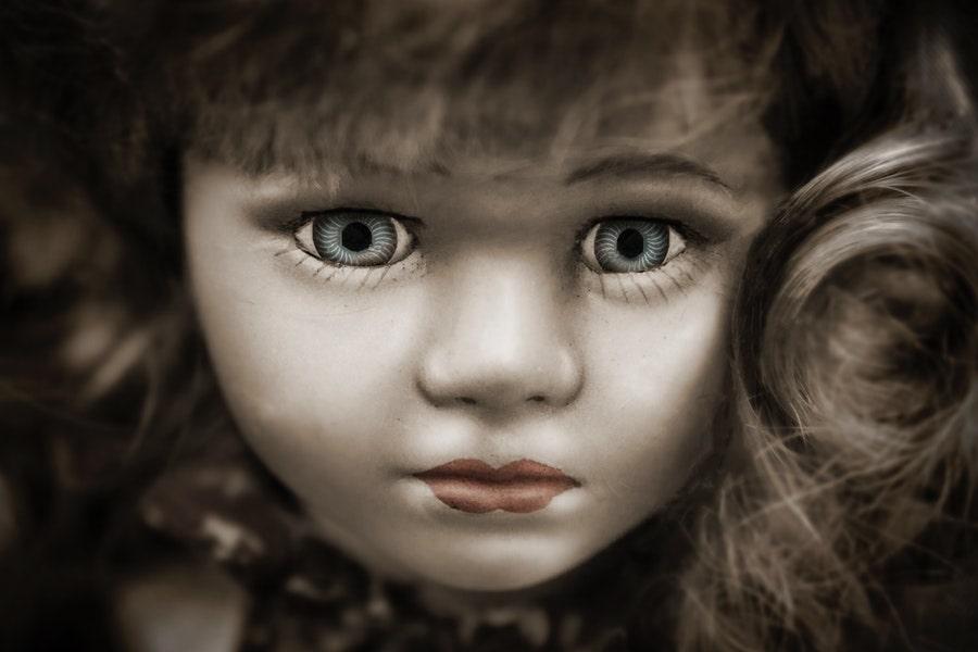 doll with grey eyes and brown hair