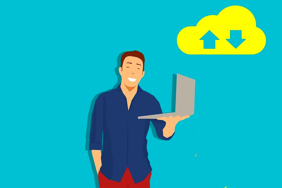 zap hosting article cover pic. a person holding a laptop. its a vector image
