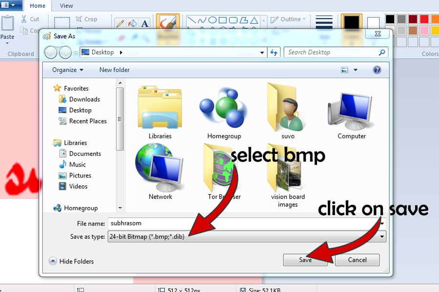final step of saving the .bmp format image